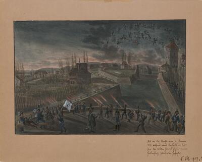 Malerei   Gefecht mit dem Gartenhag vom 10. Januar 1831
