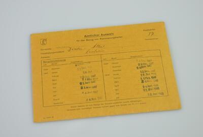 Amtlicher Ausweis für den Bezug von Rationierungskarten