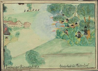 Malerei   Kadettenausmarsch 1871, Hinterhalt bei Bubendorf.