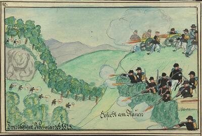 Malerei   Kadettenausmarsch 1871,  Gefecht am Blauen