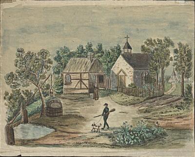 Malerei   Kirche St. Romai und Einsiedelei bei Lauwil