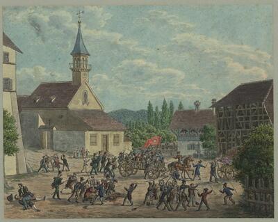 Malerei   Oberwiler Handel am 27. April 1834