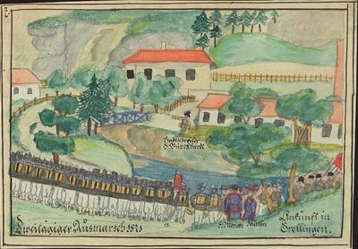 Malerei   Kadettenausmarsch 1871, Ankunft in Grellingen