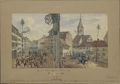 Malerei   Ein- und Ausmarsch der Basler am 13. Januar 1831 in Liestal