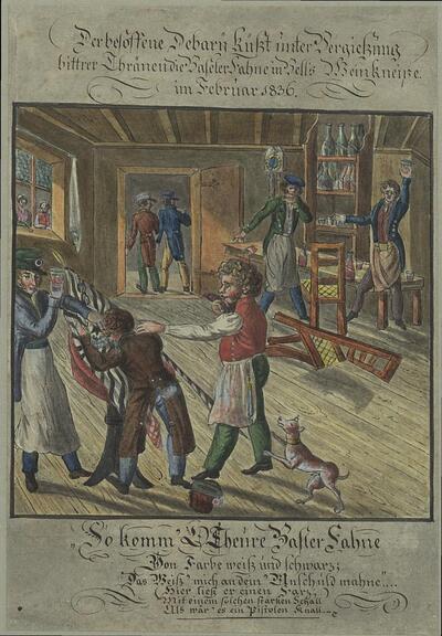 Malerei   Der besoffene Debary küsst unter Vergiessung bittrer Thränen die Baseler Fahne in Bells Weinkneipe im Februar 1836.