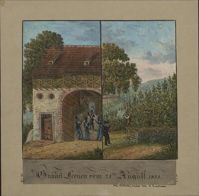 Malerei   Gräuel Scenen vom 12ten August 1831.