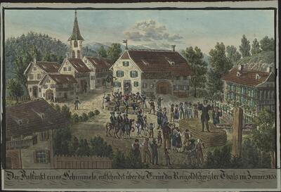 Malerei   Der Instinkt eines Schimmels, entscheidet über die Treue des Reigoldswyler Thales im Jenner 1831.