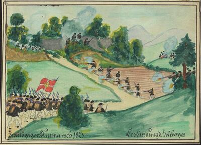 Malerei   Zweitägiger Ausmarsch 1871. Bestürmung d. Holzberges.
