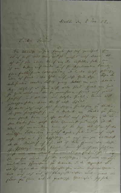 Brief 02.01.1852 - von J.J. Bernoulli