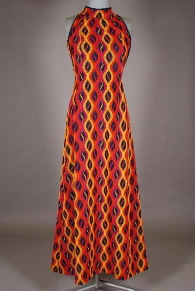 Langes Hauskleid, mehrfarbiges Wellenmuster, für Damen