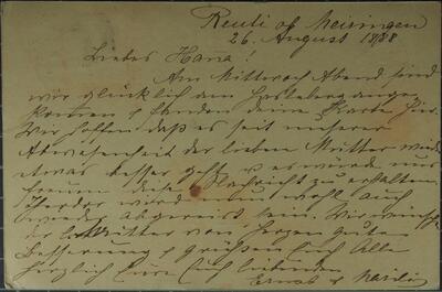 Brief (Postkarte) 26.08.1888 - an Hanna