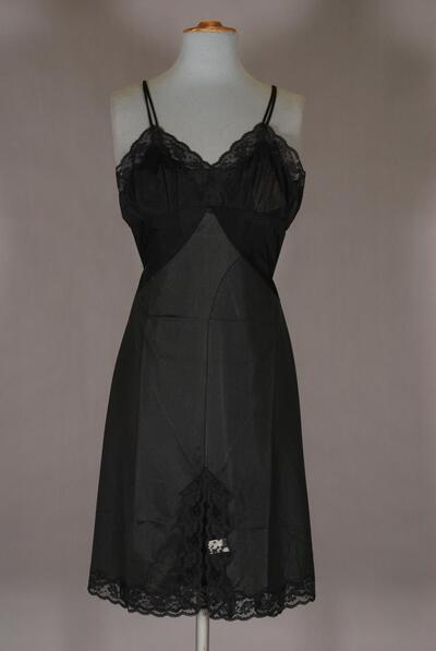Unterkleid, schwarz, angenähte Büste, für Damen