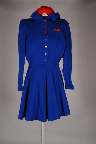 Sportbekleidung, Kleid für Eislauf, blau, mit Kapuze, für Damen