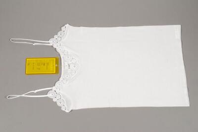 Unterhemd, weiss, mit Guipure-Spitze, verstellbare Spaghettiträger aus Atlasbändchen, für Damen