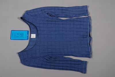 Unterhemd, blau, kurz, halblange Ärmel, aus leichter Maschenware mit Karo-Effekt, für Damen