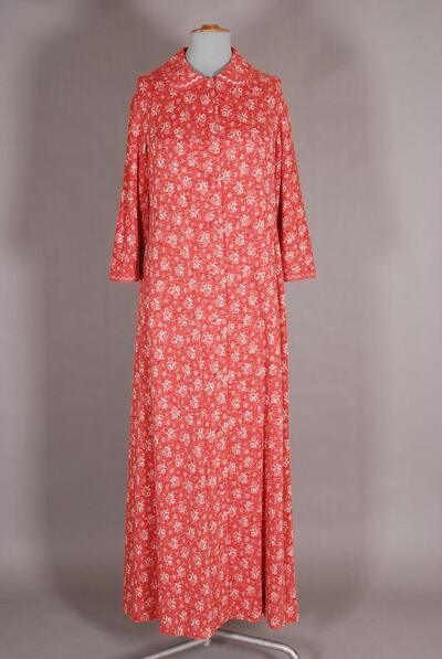 langes rotes Hauskleid mit weissem Muster für Damen