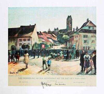 Farbdruck   Erinnerung an den Aktivdienst 1939-1945 des Territorial Battailons 138