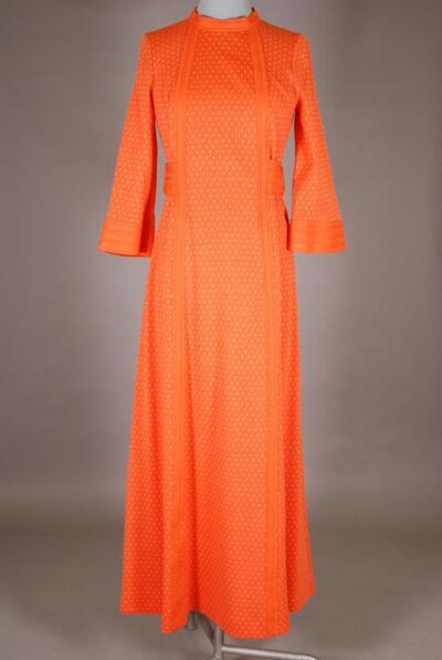 Oranges Hauskleid mit breitem Gürtel, für Damen