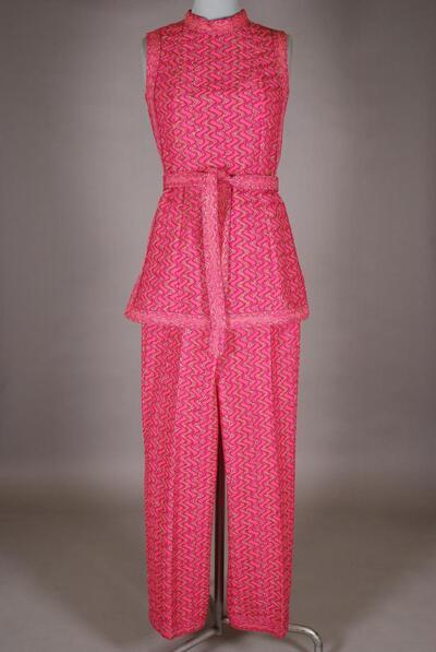 Pinker Hosenanzug mit Wellenmuster, für Damen
