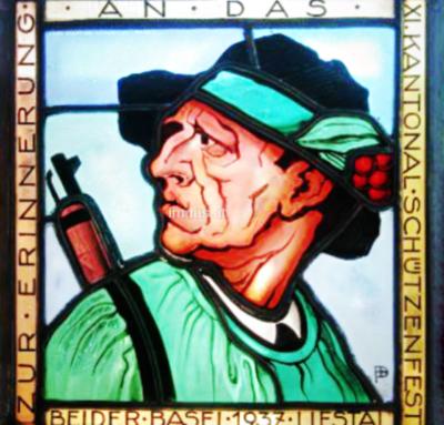 Bild: Glasbild; Blei   Wappenscheibe Kantonalschützenfest