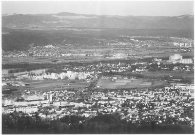 Flugaufnahme über Rheinebene, Längi, Liebrüti, Augst