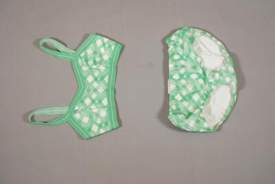 Grüngemusterter Bikini, zum Sonnenbaden, für Damen