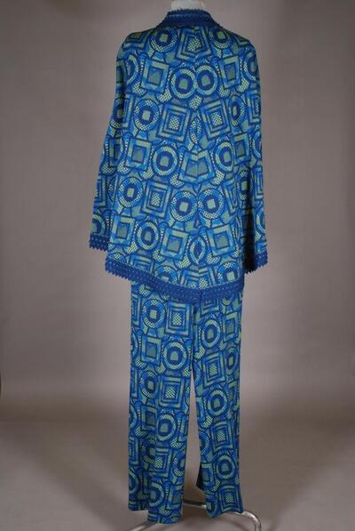 Gemusterter Hosenanzug mit Poncho, blau-grün, für Damen