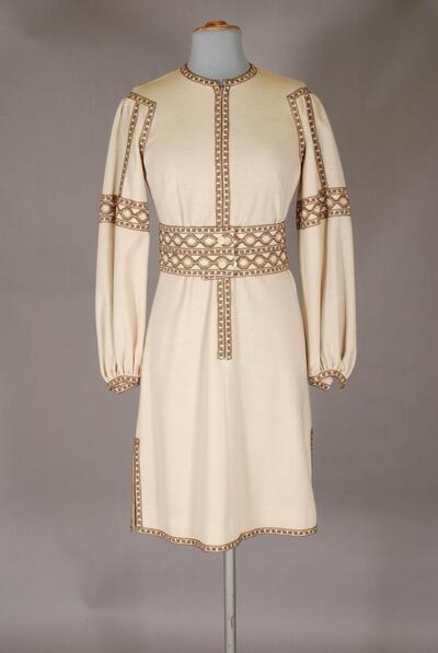 Beiges Kleid mit brauner Raschelspitze, für Damen