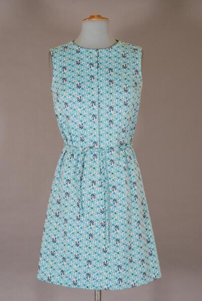Blaugemustertes Kleid mit Bindegürtel, für Damen