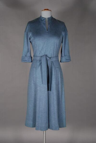 Graublaues Kleid mit Mohair, für Damen
