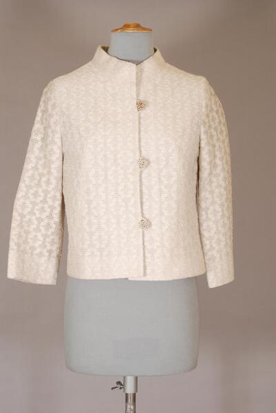 Hellgraue Kostümjacke aus Raschelstoff, mit Silberfäden, für Damen