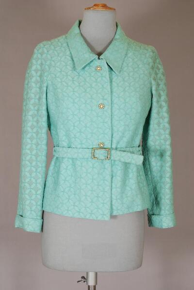 Mintfarbene Jacke aus Wollraschel, für Damen
