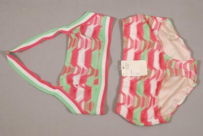 Bikini zum Sonnenbaden, pink-grün-weiss gemustert, für Damen