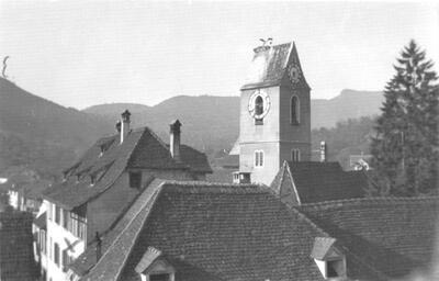 Ref. Kirchturm mit Storch 1940
