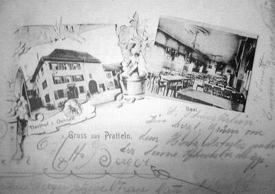 um 1900: Postkarte Gasthof zum Ochsen