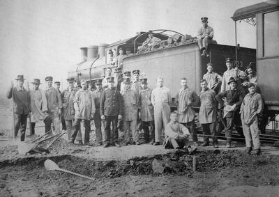 Um 1920: Prattler bauen am Rangierbahnhof Muttenz