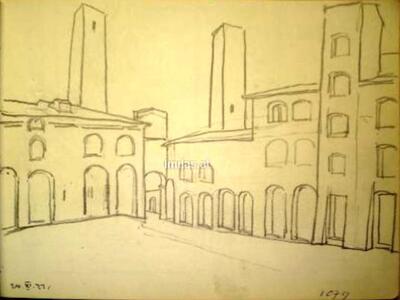 Bild: Bleistiftzeichnung | Ort I - San Gimignano