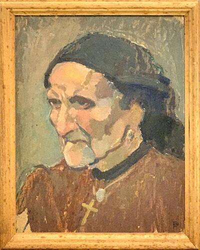 Bild: Ölmalerei | Frau - Porträt, Betagte (Südländerin?)