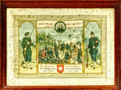 Druck - Erinnerung Grenzbesetzung 1870   Erinnerungsfeier 1910 der Grenzbesetzung 1870