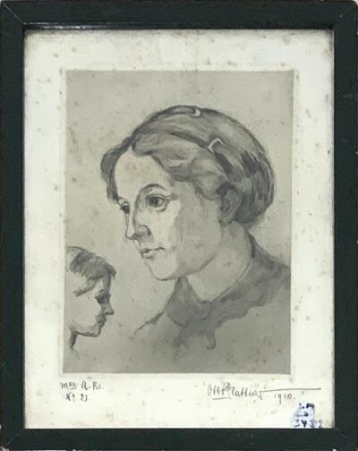 Bild: Tuschezeichnung | Frau - Porträt, Mlle A.Bs. (No. 2)