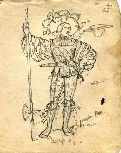 Kostümskizze/Entwurf, Solothurner Landsknecht