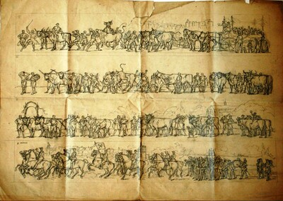 Entwürfe, Druckvorlagen, Umzug der Metzger am Ostermontag 1890