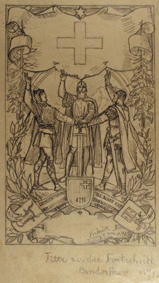 Entwürfe, Druckvorlagen, Festschrift Bundesfeier 1891, Titelblatt / Briefentwurf an Hallberger §§