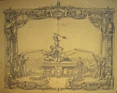 Entwürfe, Druckvorlagen, Diplom Schweizerisches Kadettenfest Aarau 1889