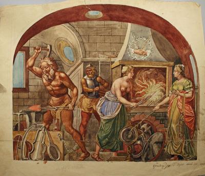 Zeichnung, Mythologische Schmiede (Schmiedenzunft Basel)