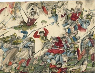Zeichnung, Schlacht bei St. Jakob / Landschaft bei Sonnenaufgang