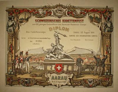 Drucke, Diplom Schweizerisches Kadettenfest Aarau 1889