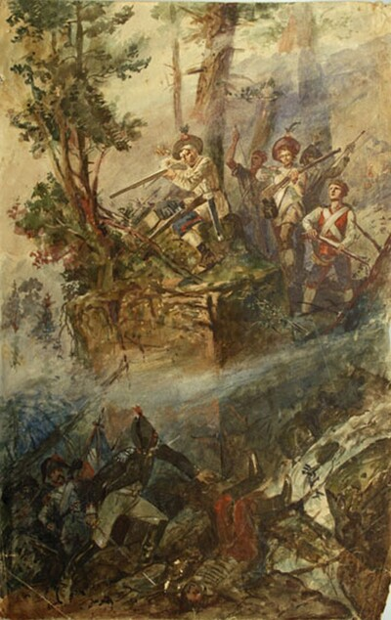Zeichnung, Gefecht am Stanserhorn 1798