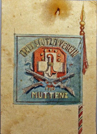 Zeichnung, Fahne der Muttenzer Feldschützen (Entwurf)