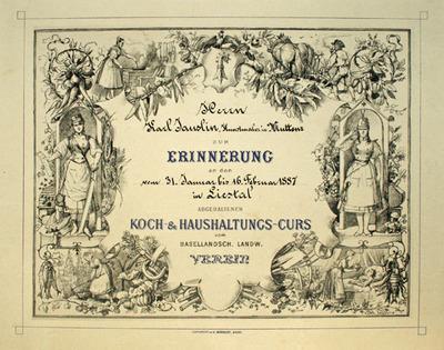 Druck, Erinnerungs-Urkunde Koch- und Haushaltungskurs